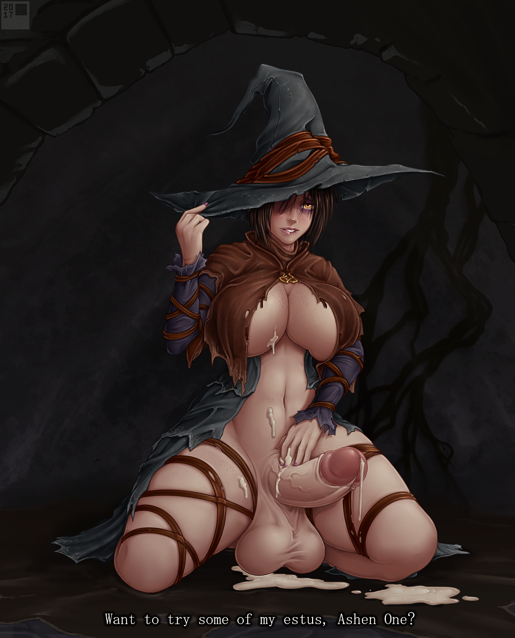 witch 3 hat souls dark Pink and white striped panties